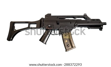 The machine model for airsoft. Image isolated on white background.