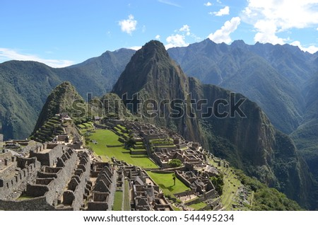 The Machu Picchu archaeological site, one of the new seven wonders of the world. Cusco, Peru.