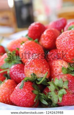The macro raw fresh  strawberries  from  natural - stock photo