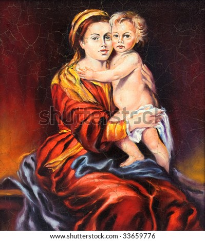 The Madonna with the child, drawn by oil on a canvas - stock photo