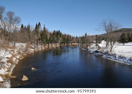 The Magalloway River in Lincoln Plantation, Maine, on a cold winter day