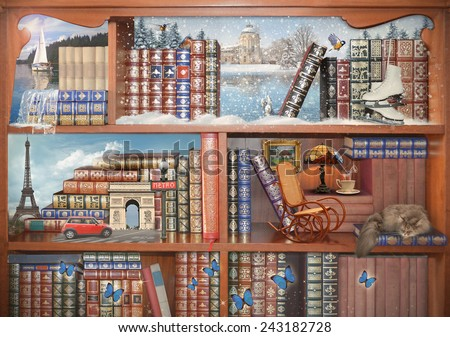 The magical world of books. Concept graphic. Photo manipulation.  - stock photo