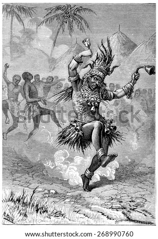 The magician first walked around the square, vintage engraved illustration.  - stock photo