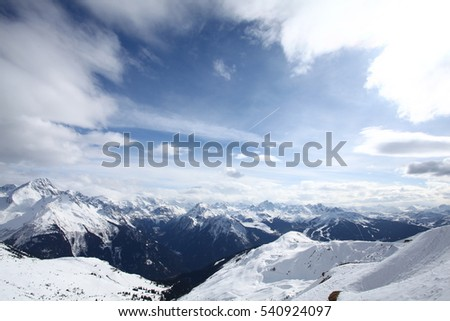 The magnificent alps in Les Arcs ski resort, France. A winter mountain tops panorama.