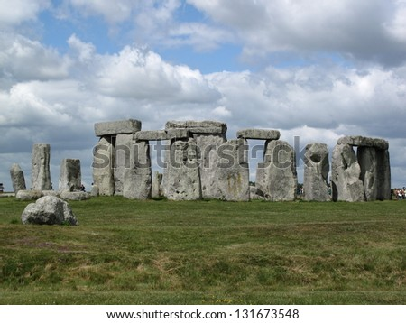 The Magnificent Ancient Stone Monument of Stonehenge on Salisbury Plain in Wiltshire a day before midsummer solstice - stock photo