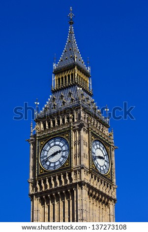 The magnificent Big Ben (Elizabeth Tower) in London. - stock photo