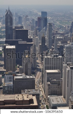 The Magnificent Mile from the John Hancock Observatory - stock photo