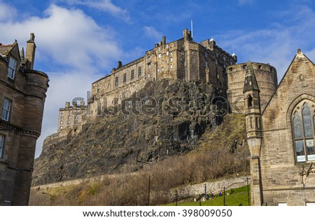 The magnificent view of Edinburgh Castle from Grassmarket in Edinburgh, Scotland. - stock photo