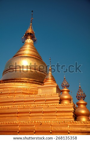 The Maha Lawka Marazein Pagoda at the center of the Kuthodaw Pagoda. Kuthodaw Pagoda is a Buddhist stupa, located in Mandalay, Burma (Myanmar), that contains the world's largest book. - stock photo