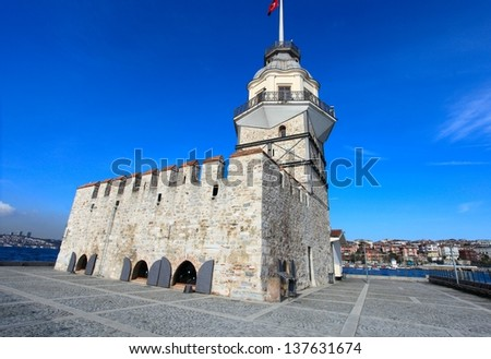 The Maiden's Tower in Istanbul, Turkey. - stock photo