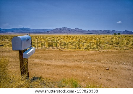 The mailbox in the desert. - stock photo