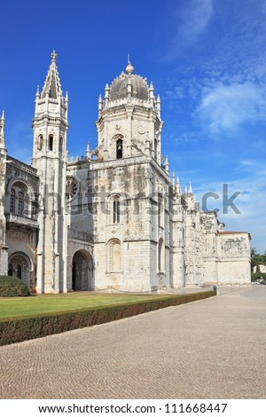 The main attraction of Lisbon - Jeronimos monastery on the bank of the River Tagus.