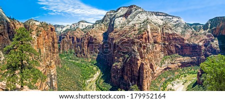The main canyon at Utah's Zion National Park as viewed from atop Angels Landing. - stock photo