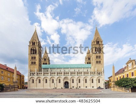 The main cathedral in Pecs, Hungary