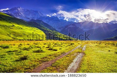 The main Caucasian ridge, Shkhara mountain. The view from the Ushguli village. Georgia, Upper Svaneti - stock photo