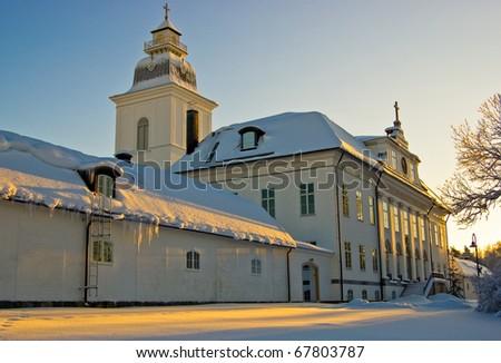 The main church of Mustasaari, built in 1786. It is situated in the historic area Gamla Vasa. /The Church of Mustasaari, Finland - stock photo
