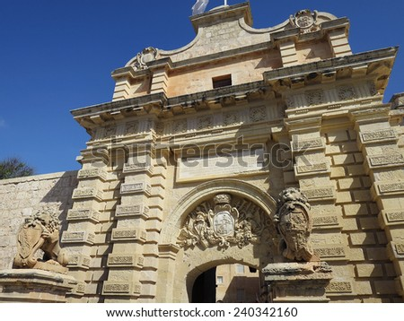 The Main Gate of Mdina, MALTA. It was used as the King's Landing's Gate In the first season of HBO's Game of Thrones - stock photo
