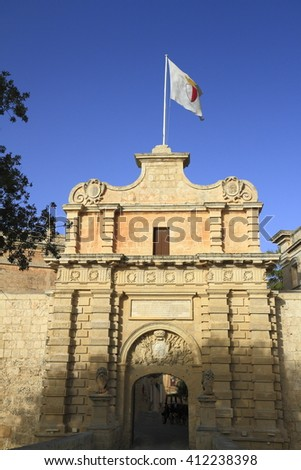 The Main Gate to the medieval town Mdina, Malta - stock photo