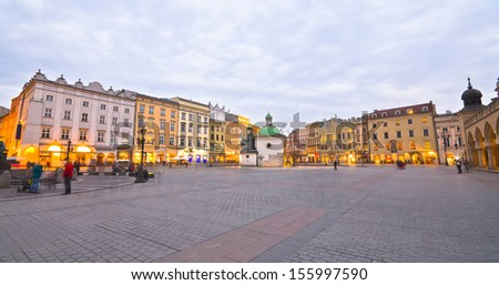 The Main Market Square in Cracow is the most important square of the Old Town in Cracow, Poland. - stock photo
