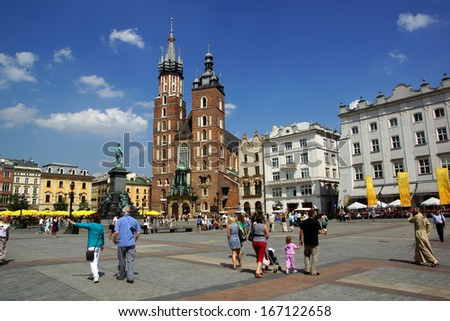 The Main Market Square in Cracow, Old Town, Poland - stock photo