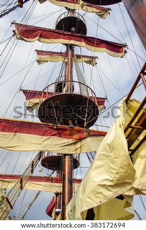 The main mast of a sailing ship. - stock photo