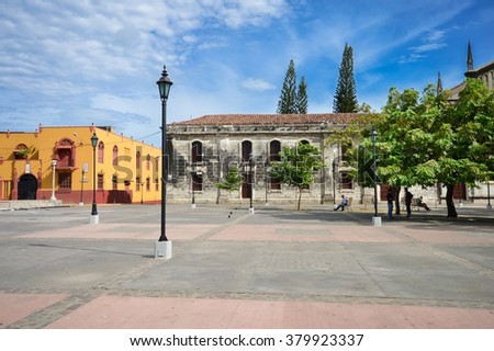 The main Plaza of the colonial city of Leon, Nicaragua. Colonial architecture of Central America