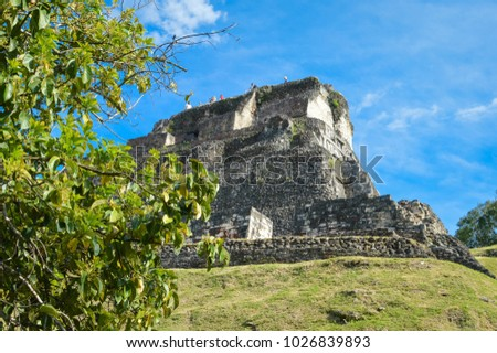 The main pyramid El Castillo at Xunantunich archaeological site of Mayan civilization in Western Belize. Central America