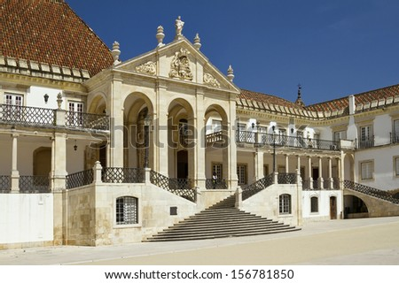 The main square and buildings of the historic block of the University of Coimbra  - stock photo