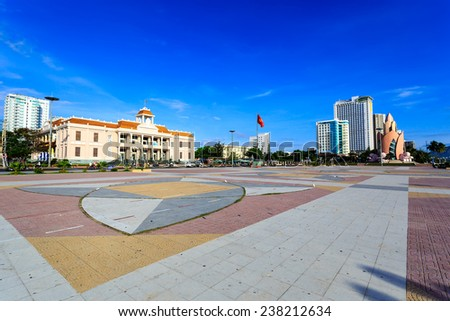 The Main Town Square On The Seafront In Nha Trang Vietnam - stock photo