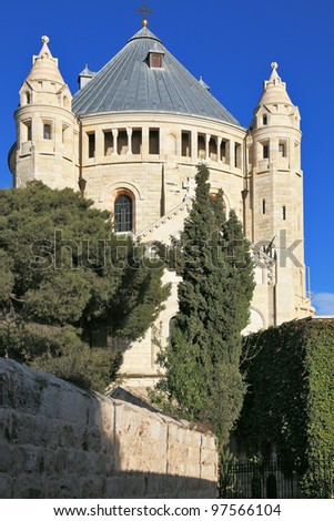 The majestic church of Dormition of the sunset. Jerusalem magnificent - stock photo