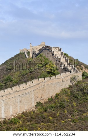 The majestic Great Wall at sunset at Jinshanling, 120 KM northeast from Beijing. - stock photo