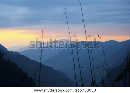 The majestic Himalayas at the sunset time, Nepal  - stock photo