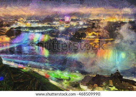 The majestic Niagara Falls from the Canadian side in Ontario at night