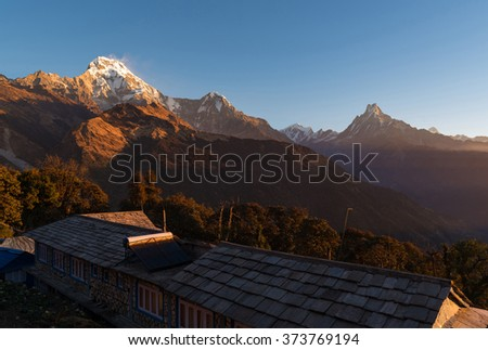 The majestic of Himalayan mountain range during sunrise ,natural landscape view at Nepal.  - stock photo
