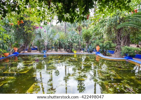 The Majorelle Garden is a botanical garden and artist's landscape garden in Marrakech, Morocco.