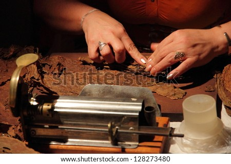 The making of cuban cigars - stock photo