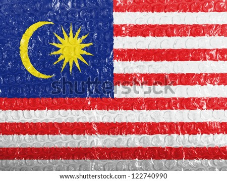 The Malaysia flag  painted on bubblewrap - stock photo
