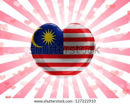 The Malaysia flag  painted on glass heart on stripped background - stock photo