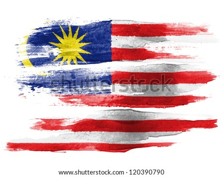 The Malaysia flag painted on  white paper with watercolor