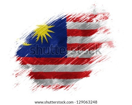 The Malaysia flag  painted with brush on white background