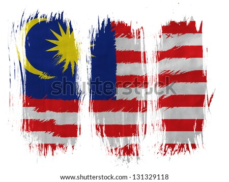 The Malaysia flag  painted with 3 vertical  brush strokes on white background - stock photo