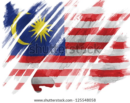 The Malaysia flag  painted with watercolor on paper - stock photo