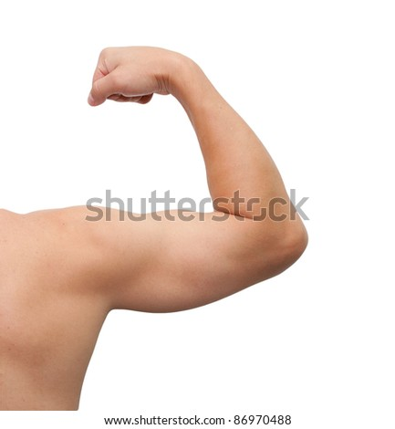 The male arm isolated on white background.