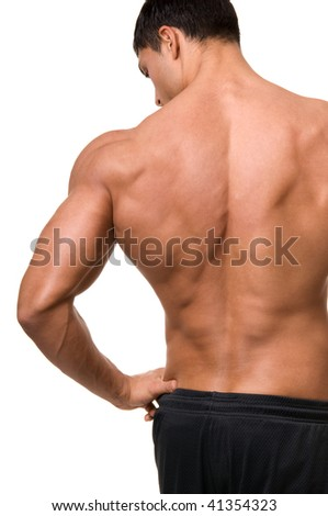 The male back isolated on white background.