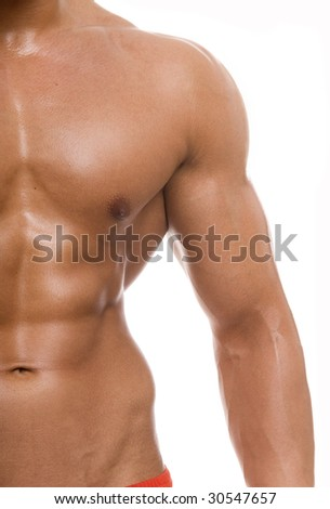 The male body isolated on white background