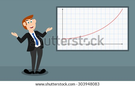 The male presenter shows the growth by a curve graph