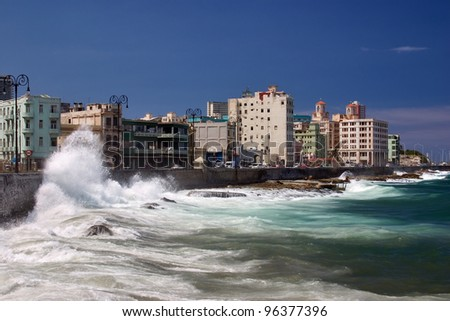 The Malecon in Havana, Cuba - stock photo