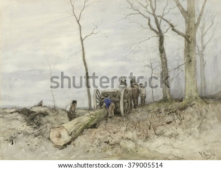 The Mallejan, by Anton Mauve, c. 1860-80. Dutch watercolor painting. The Mallejan was a vehicle to move wood, consisting of a shaft, which worked as a lever to lift the load off the ground. - stock photo