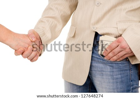 the man agreed about the bribe and puts it in his pocket isolated on white background - stock photo