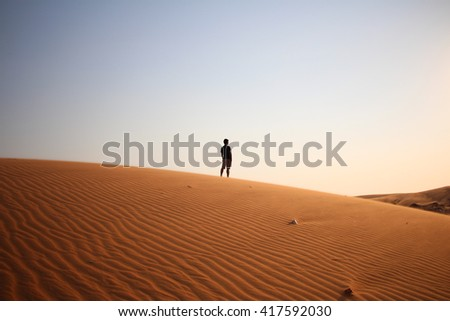 The man and desert